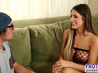 Awesome brunette babe August Ames gives her client a hot milking session