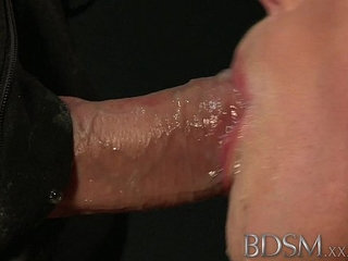 BDSM XXX Tied up sub beauty gets Masters full attention in dungeon