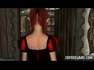 3D redhead elf babe sucking on a monsters hard cock