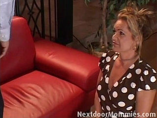 Cock for hungry mother fucked on the couch