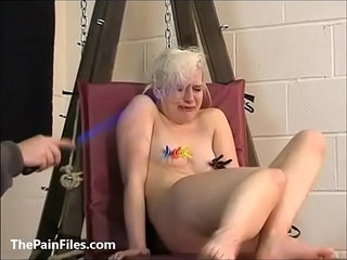 Cute blonde slave Chaos tit tormented to tears and whipped in bondage on the pun